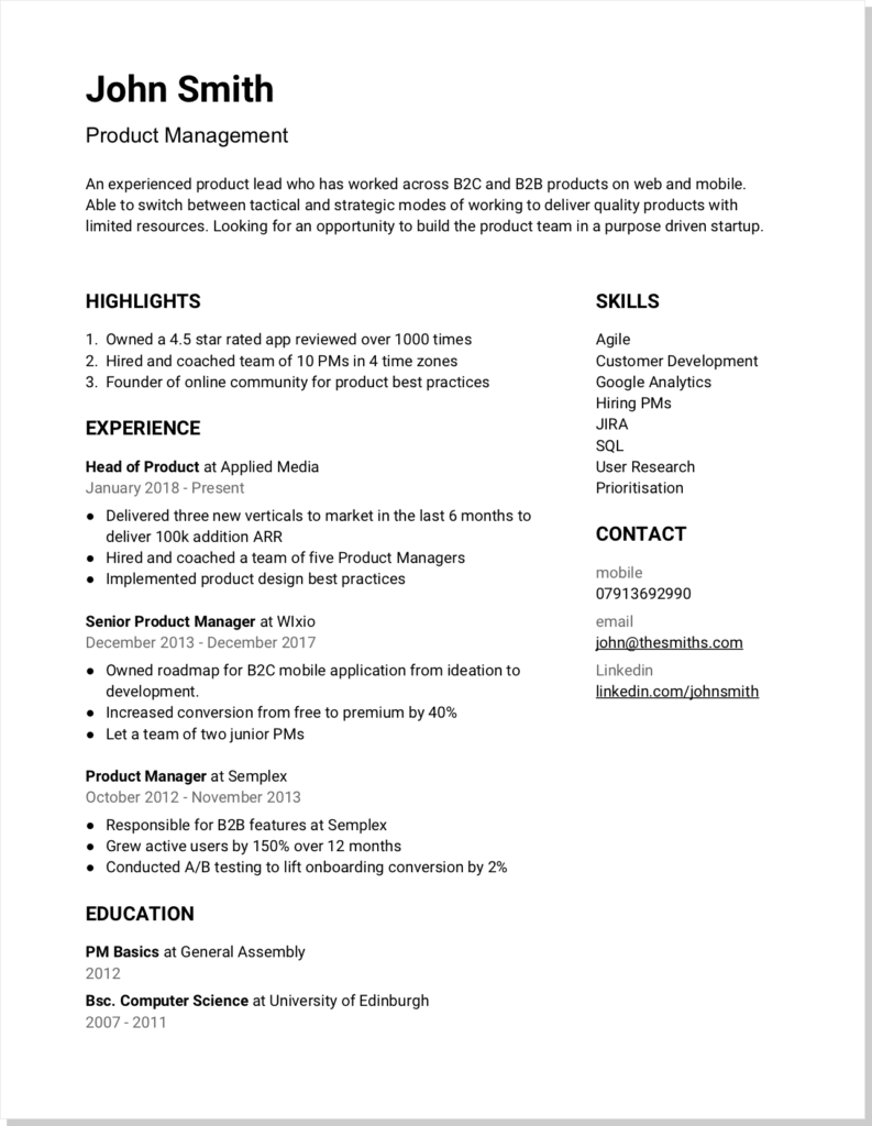 One page startup CV template